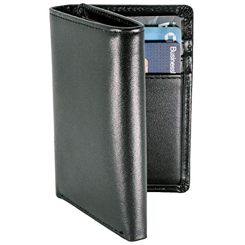 STAY FINE Mens Trifold Wallet | Leather Wallets For Men RFID Blocking | Genuine Leather Wallet with ID Window | Extra Capacity Mens Wallet (Black)
