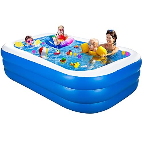 Aufblasbarer Pool, Großer Family Pool, Kinderpool für Schwimmen Spielen Schlafen, Schwimmbecken rechteckig für Garten und Outdoor, Blau (200 * 120 * 45 cm)