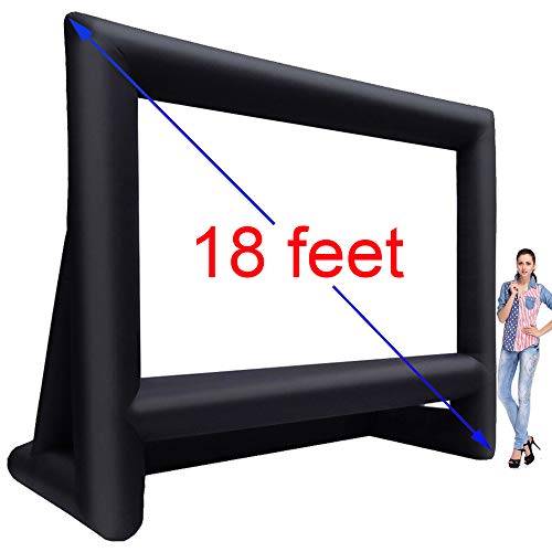 Inflatable Movie Screen | 15ft/18ft/21ft Mega Projection Movie Screen | Portable Lightweight & Fully Equipped Blower Easy Set up | Great Outdoor Backyard Pool Fun (18 feet)