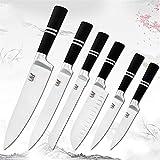 Cuchillo Cuchillos de cocina de acero inoxidable Set Chef Cuchillo de acero inoxidable CHEF 'Cocina Cuchillo Cuchillo Accesorios de cuchilla de carne (Color : 6PCS)