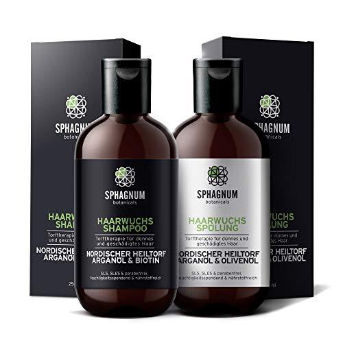 Shampoo- und Conditioner-Set für Haarwachstum - komplette natürliche Biotin und Argan-Öl Behandlung mit effektivem Torfschlamm für dünnes und strapaziertes Haar. Keine SLS und Parabene.