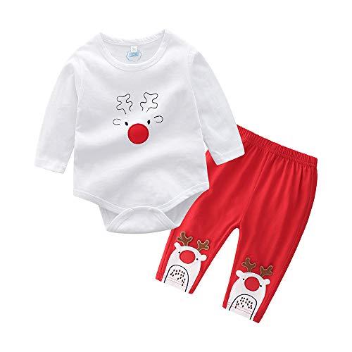 K-youth Ropa para Niño Recien Nacido Bodys Bebe Niña Manga Larga Mameluco Bebé Mono Conjuntos Bebe Pantalon y Top Fiesta Ropa Bebe Niña Navidad Pijamas Niño Navidad(Blanco, 0-6 Meses)