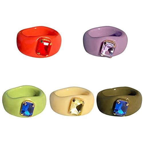 5 piezas de anillos de resina de acrílico grueso para mujer, anillo de dedo colorido conjunto de anillos de cúpula anchos y gruesos anillos de resina apilables vintage para mujeres