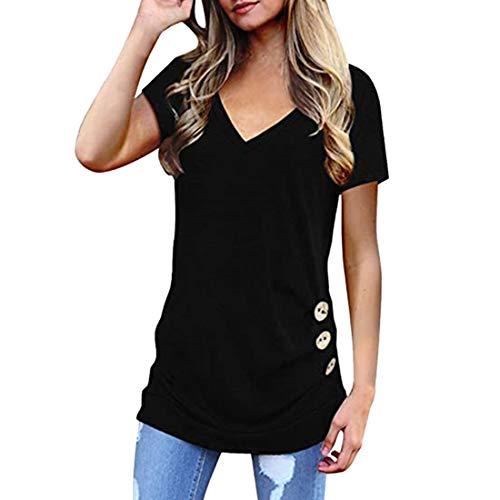 DOLAA Botones Laterales para Mujer Sudadera Casual Blusas Sueltas Tops Tipo túnica Verano Informal Cuello en V Profundo Manga Corta Camiseta Cruzada Informales Ligeras Camisas de para Entrenamiento