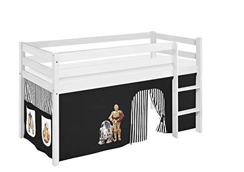 Lilokids Spielbett Jelle Star Wars, Hochbett mit Vorhang Kinderbett, Holz, schwarz, 208 x 98 x 113 cm
