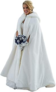 Portsvy Long Wedding Cloak Faux Fur Bride Cape Hooded Winter Robe with Armhole