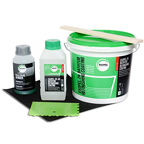 Ekopel 2K-Komplettset Badewannenlack Geruchlos Dickschicht Lösungsmittelfrei Badewannen- Duschtassen- Waschbecken Renovierung Beschichtung Gießmethode