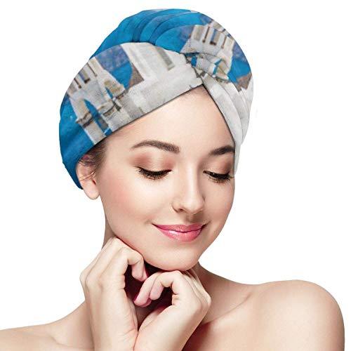 XBFHG Enveloppes De Serviette De Cheveux en Microfibre pour Les FemmesCapuchon De Cheveux Secs Rapides avec Bouton - Vue Panoramique des Maisons Blanches des Cyclades Traditionnelles Et des Dômes Ble