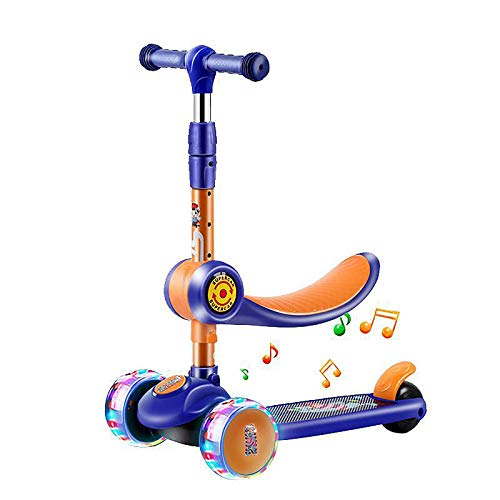 LABYSJ Patinete de 3 Ruedas con Asiento Ajustable, Bicicleta de Equilibrio para niños, Altura Ajustable Scooter Bicicleta de Equilibrio, Rueda Intermitente Antideslizante, Juguetes, Regalos,Azul