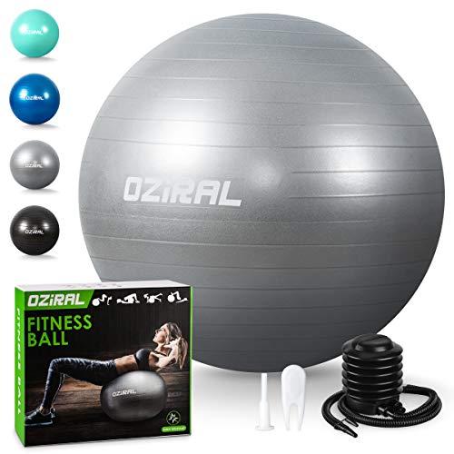 Oziral Palla Fitness Palla da Ginnastica 55cm, Anti-Scoppio Palla da Yoga Fitball con Pompa Guida Esercizi, Antiscivolo Palla da Pilates per Allenamento Core Training Attrezzi Palestra Casa -Grigio