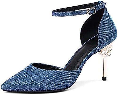 Pailletten Spitze Spitze Spitze Sandalen Strass High Heels Sandaletten High Heels Weißliche Mode Pailletten Strass mit 8,5 cm Blau Silber  zeitloser Klassiker
