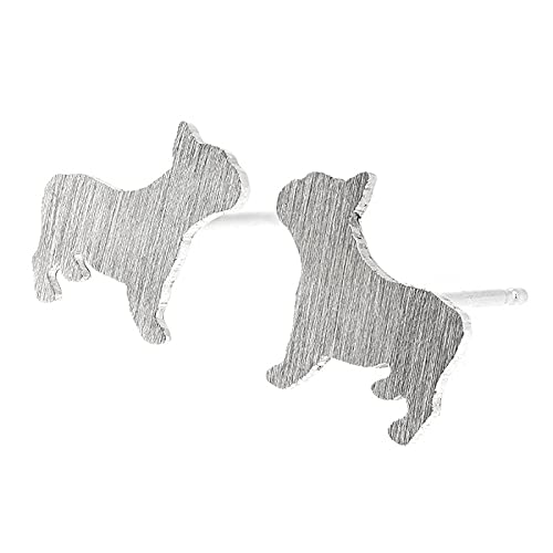 French Bulldog Frenchie Stud Earrings Brushed Sterling Silver Handmade in USA