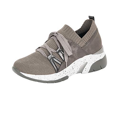 Remonte Damen Schnürhalbschuhe, Frauen sportlicher Schnürer, dad-Shoe Chunky-Sneaker weiblich leger,Beige(Kiesel-metallic),40 EU / 6.5 UK