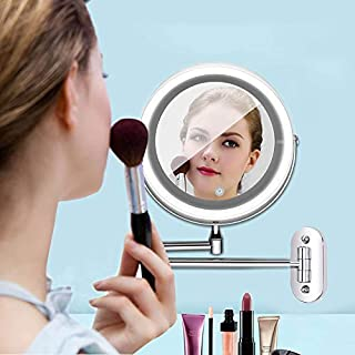 Led Mirror Make up Mirror with Touch Dimming Led Light Double Sided 1X 10X Magnifying Wall Mount Cosmetic Makeup Led Mirror