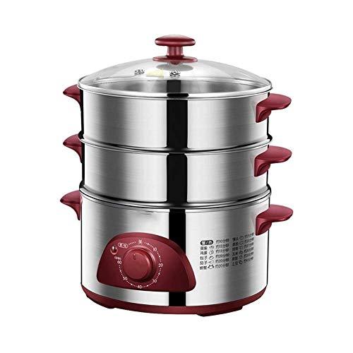 XJJZS Elektro Hot Pot mit Dampfgarer und amerikanische Stecker, Elektroherd, Dampfgarer Doppel Tiered stapelbare 1300W Schnell