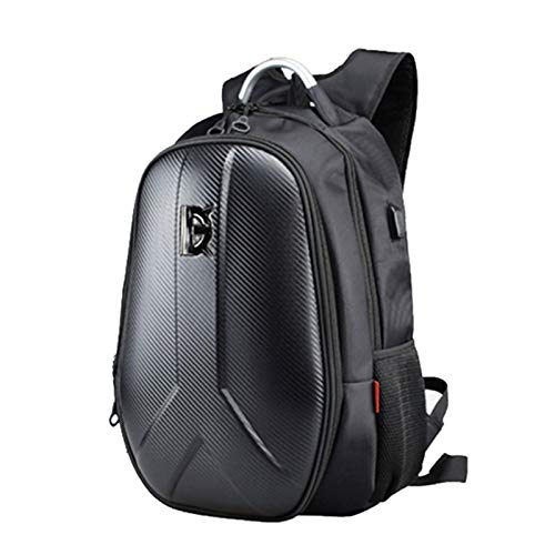 YUNSHAO Motorcycle Backpack 55L, Carbon Fiber Hard Shell Backpack Motorbike Helmet Backpack Large Capacity Cycling Travelling Storage Bag 15.6 Inch Laptop Backpack with USB Port