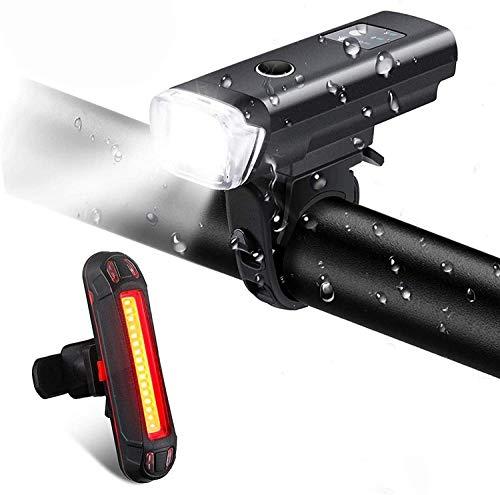 ZHENG Luz Bicicleta Faros Delanteros Conjunto de luz de Bicicleta, Impermeable Recargable USB se Adapta a Todas Las Bicicletas