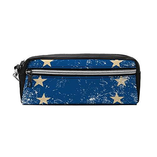 EU Retro Vlag PU Lederen Potlood Case Make-up Tas Cosmetische Tas Potlood Tas met Rits Reizen Toilettas voor Vrouwen Meisjes