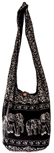 SLING Bag COTTON 40 PRINTs Männer oder Frauen CROSSBODY Tasche LARGE BOHO Hippie Hobo Handtasche (Black ELEPHANT)