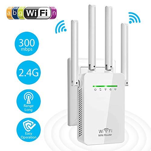 Amplificador Señal WiFi, 300Mbps/2.4 GHz Repetidores WiFi Amplificador Extensor de WiFi con Largo Alcance Modo Punto de Acceso/Repeater/Router/Cliente(2 Puerto LAN / WAN, 4 Antenas Externas, WPS)
