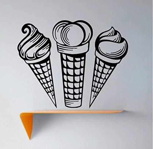 Creative Three Ice Cream Wandaufkleber Abnehmbare Kunst Vinyl Aufkleber Küche Home Decor Kinder Kinderzimmer Dekoration 44cmx33cm