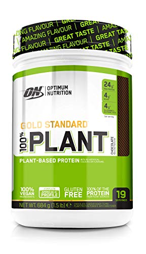 Optimum Nutrition Gold Standard 100 Percent Plant Vegan and Gluten Free Protein Powder with Vitamin B12, Essential Amino Acids, Natural Occurring BCAAs and Glutamine, Chocolate, 19 Servings, 684 g