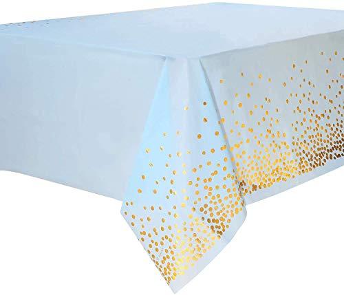 Layal Design Elegante Einweg Plastik Tischdecke | Blau Gold | Party Geburtstag Geburtstagsdeko Geburstagsfeier Birthday Babyparty Baby Shower