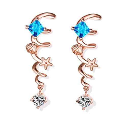 Pendientes Algas Aqua Diamante azul Diamante rojo Pendientes Accesorios de mujer Pendientes-B