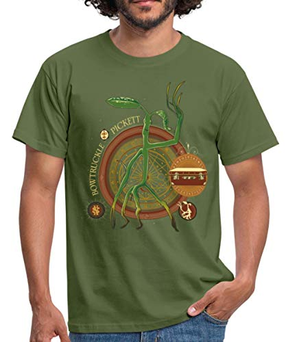 Spreadshirt Fantastic Beasts Bowtruckle Pickett Men's T-Shirt, 4XL, Military Green