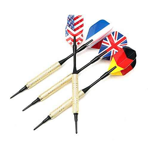 MASUNN 12Pcs 4 Generi National Flag Tail Dartpfeile mit 36 Extra Soft Tips Professional