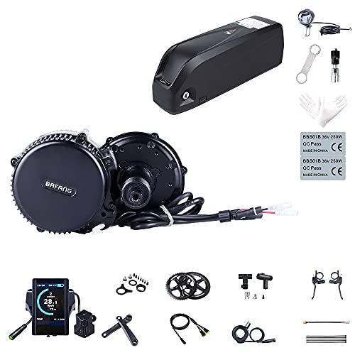 Kit Mid Drive BBS02B 48V 750W Kit Moteur électrique vélo pour Conversion Ebike (Batterie pour Cadre de vélo: 48V 17.5Ah, Compteurs vélo: 850C, Couronne: 44T)