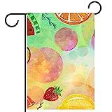 Bandera de jardín 28x40 pulgadas,Sandía de frutas Kiwi Lemon ,Bandera de patio con doble cara para exterior de granja,patio,césped,decoración del hogar al aire libre,regalo