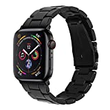 Joyozy Compatible with Apple Watch Bands 42mm 44mm, Resin Wristbands Replacement for iWatch SE& Series 6/5/4/3/2/1 for Women Men Gift Fashion Bracelet-(Perfect Black, 42mm/44mm)