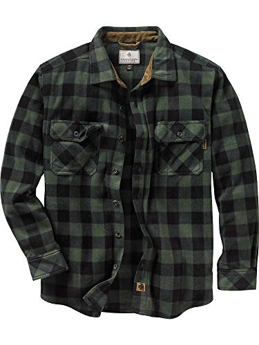 Legendary Whitetails Men's Navigator Fleece Button Up Forest Green Large