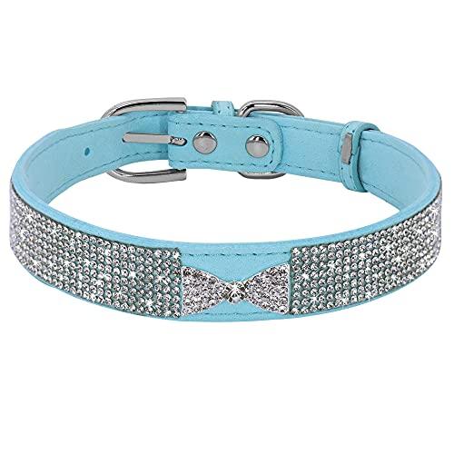 YSSDZYYMXD Rhinestone Pequeño Collar De Perro, para Pequeñas Mascotas Medianas Gatito Cachorro Choza Brillo Cristal Arco Corbata Perros Collares Gato Collares De Gamuza Diamante Collares,Azul,20~26cm