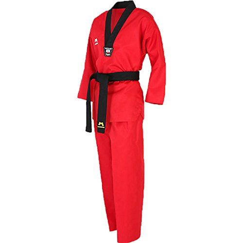 Mudoin Taekwondo 3 Uniforme para Adultos con Escote en v Artes Marciales akido Hapkido para Hombre 190 (180-190cm) (5.90-6.23ft) Rojo