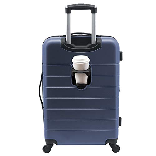 Wrangler Smart Luggage Set with Cup Holder and USB Port, Navy Blue, 20-Inch Carry-On