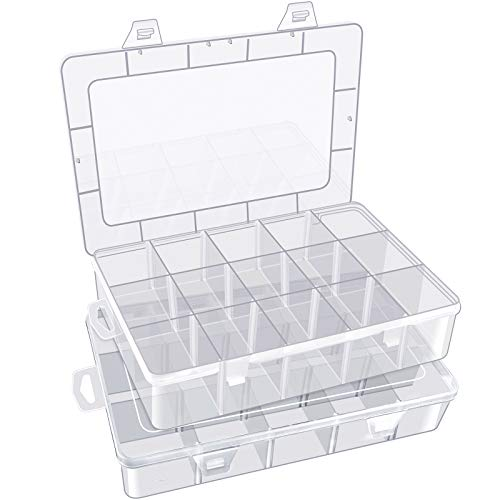 Arts Crafts Storage Box Organizer for Beads Crafts Jewelry Fishing Tackles, Pencil, Color Pens, Washi Tape, Art Supplies, Sticker, Small Toy& Accessories and More. 15 Compartments 2 Pack.