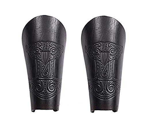 Lot de 2 manchons (paire) en cuir avec marteau de Thor gaufré + pendentif marteau de Thor - Noir - Protège-bras médiéval Viking