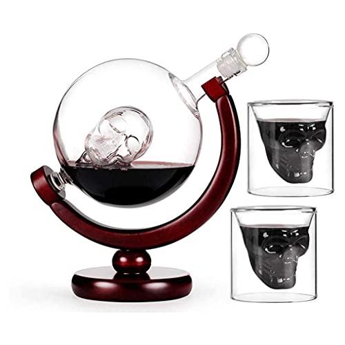 ROSG Juego de decantadores de 850 ml con Base de Madera, 2 Vasos de chupito de Calavera con Vidrio soplado sin Plomo Giratorio de 360 Grados para Vasos de chupito de Whisky y Vodka