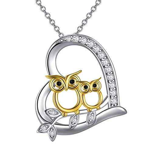925 Sterling Silver Mother Daughter Owl Pendant Necklace Love Heart Animal Pendant Charm Owl Gifts For Women Girls Owl Lovers