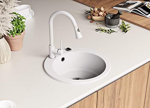 Granitspüle mit Siphon Genf Einbauspüle Spülbecken Weiß Küchenspüle Unterschrank Küche ab 45cm Spüle Rund aus Granit mit Ablaufgarnitur Drehexcenter und Überlauf von Primagran