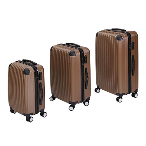 Luggage Set of 3, Lightweight 4 Spinner Wheels ABS Hard Shell Travel Trolley, Suitcase Trolley Set, with Number Lock, 55/63/75cm, Champagne Color