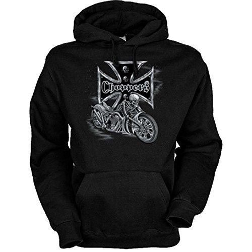 van-Petersen-Shirts Motorrad-Driver Sweatshirt mit Kapuze, Motiv: Bikers Cross - Choppers (Größe: XL) Farbe schwarz