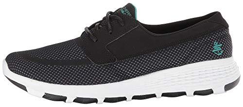 Skechers Chaussures bateau pour femme, Noir (noir/turquoise), 38 EU