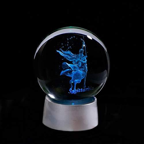 ZZLLFF Signos del Zodiaco Sagitario Crystal 3D Ball Handcrafts Decoración del hogar Luces LED Fantastic Globe Globe Favores Constellation (Color : with LED Base, Size : 8cm Ball)