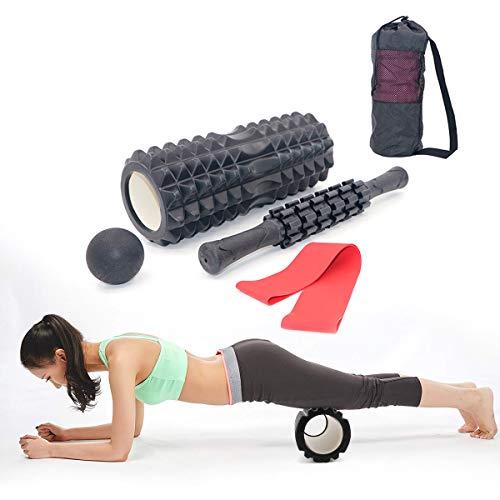 4 in 1 Schaumstoffroller-Set, Hohlkern-Massagerolle + Muskelroller Stick + Widerstandsschlaufe + Lacrosse Ball mit Tragetasche für Massage Fitness Yoga Pilates Therapie
