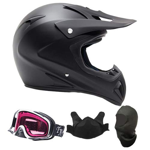 Adult Snocross Snowmobile Helmet & Goggle Combo - Matte Black, White (Large)