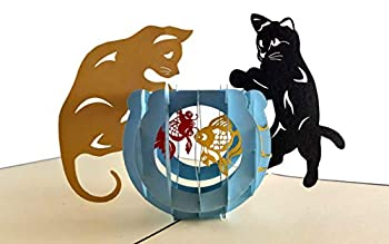 iGifts And Cards Two Cute Cats With Fish Bowl 3D Pop Up Greeting Card - Playful Furry Lovable Pussycat Active Meow Kittens Half-Fold Happy Birthday Just Because Thinking of You Friendship