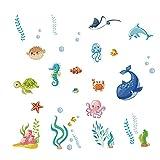 Runtoo Adesivi Murali Mare Adesivi da Parete Pesci Subacqueo Decorazioni Muro Bagno Bambini Cameretta Neonato